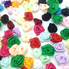 HL 100pcs 15mm Ribbon Rose Flowers DIY Sewing Wedding Decoraions Crafts Supplies Lots Colors A005(China)