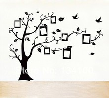 50*70cm  Black DIY Photo Frame Tree with birds flying  Waterproof and Easily Removable  Mural Wall Sticker Decal Decor NEW