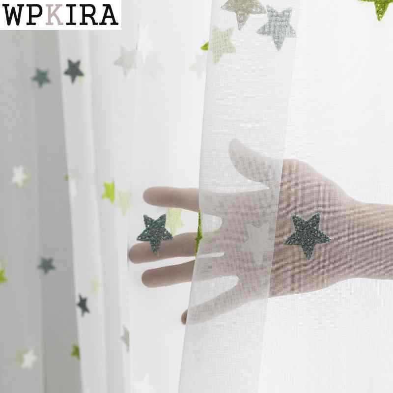 Modern Star Embroidered White Sheer Curtains for Living Room Bedroom Kitchen Tulle Curtains Kids Baby Room Door Window M065&30