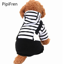 PipiFren Small Dogs Jumpsuit Overalls Stripe Dog Clothes For Pets Costume Costumes Cats Coats combinaison chien Ropa perro