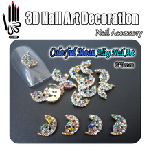 Nail 10pcs/Lot 3D Nail Art Glitter Colorful Rhinestone Alloy Mandala Style Moon Design Nail Art Products Decorations Accessory