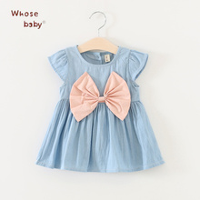 New Summer Baby Girls Dresses Newborn Denim Fancy Clothes With Big Bow-knot 2017 Fashion Cute Princess Toddler Girls Clothing(China)