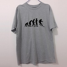 Evolution of T Shirt Men Funny Cool T Shirt Man's Cotton Short-Sleeve T-shirt Evolution of Skiingging(China)