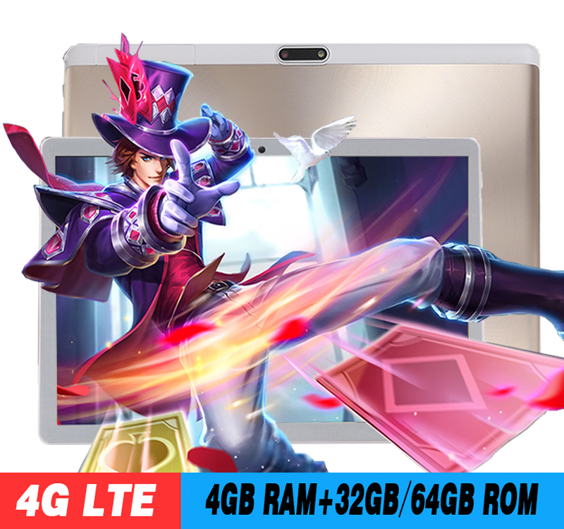 2019 New 10 inch 4G LTE Tablet PC Octa Core 4GB RAM 64GB ROM 1280*800 IPS 2.5D Tempered Glass 10.1 Tablets Android 8.0+Gifts(China)
