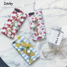 Zxtrby Fashion DIY Cute Fruit Cherry pineapple peach Phone Case for Iphone 6 6s plus 7 7plus Wristbands Hard PC Back Cover Coque