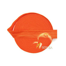 "GOYIBA 5 Yard 5/8"" 1.5cm Autumn Orange FOE Foldover Elastics Spandex Satin Kids Hairband Headband Lace Trims DIY Sewing Notions"