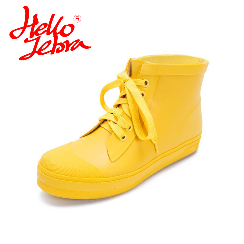 Hellozebra Women Rain Boots Lady Ankle Boots Waterproof boots Low Heels Waterproof Martin Boots Shoes 2017 New Fashion Design   <br>