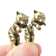 2016 New Adorable Kitty Cat AnimalThemed Two Parts Women Stud Earring in Bronze and Antique Silver  ED085