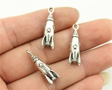 WYSIWYG 4pcs 24*9*9mm 2 Colors Antique Gold, Antique Silver Rocket Charms, Missile Charm, Spaceship Charms(China)