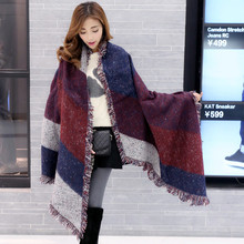 Poncho Inverno 2017 Winter Warm Fashion Women Long Blanket Scarf Cashmere Pashmina Wool Scarf Shawl Thick Scarves Cape Wraps