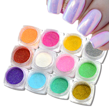 12 box/sets Nails 3d Glitter Magic Glimmer Powder Dust Tips Nail Art Decorations Fashion 12 Colors Mermaid Effect Sequin M01-12