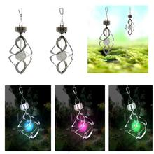 Hot Color Changing Solar Powered LED Wind Chimes Wind Spinner Outdoor Hanging Spiral Garden Light Courtyard Decoration(China)