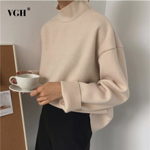 Buy VGH Turtleneck Female T-shirt Long Sleeve T-shirts Women Loose Big Size Solid Colour Top Korean Clothes Fashion New 2018 for $20.79 in AliExpress store