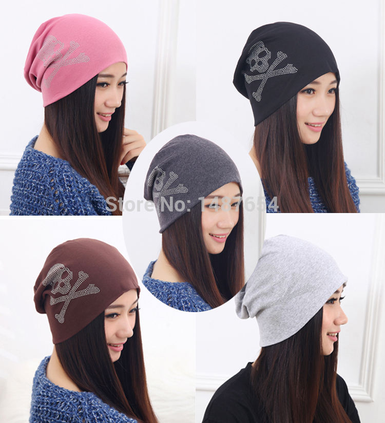 2014 Fashion autumn and winter hats for women beanies diamond Skull Pattern  cap hip-hop turban hat for women men bonnet caps ab5cbadd6343