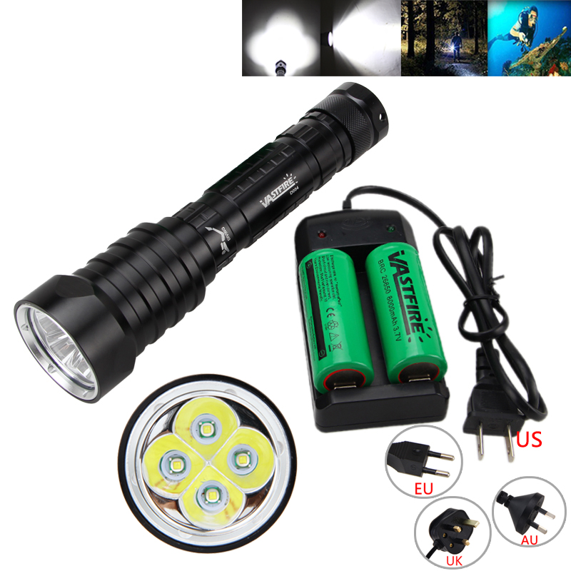 Tactical Waterproof Underwater 100m 15000LM 4X T6 LED 3-Modes Diving Flashlight Torch Light 2x26650<br>