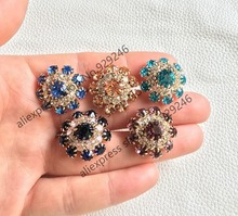 10pcs/lot 22mm purple blue pink crystal rhinestone button gold flower button for women over coat sweater garment embellishments