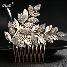 Miallo Alloy and Crystal Bridal Hair Comb Vintage Style Wedding Hair Comb golden Hair Accessories HS-J4177A(China)