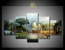 5 Pieces/set Limited Edition Sailing Ship Painting Picture Print on Canvas for Home Decoration Wall Art Picture for Living Room(China)