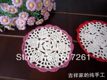 Free shipping 15pic/lot 12cm round colorful crochet doilies felt for home decor as innovative item cup coaster pad placemat