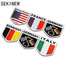 Car Auto Motorcycles ATV Bikes Italy/England/German/France Flag Logo Emblem Grille Badge Decals Sticker National Emblems