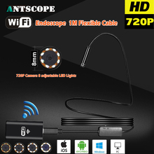 Antscope HD720P 8mm 2MP 1M 8LED Hard Flexible Snake USB WIFI Android IOS Endoscope Camera Iphone Borecope Pipe Inspection Camera(China)