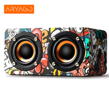 ARYAGO Portable Wooden Trend Mobile Phone Bluetooth HIFI Speaker Home High Power Multimedia Music Player MINI Subwoofer(China)