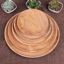 High-Quality Creative Dishes And Healthy Natural Rrubber Woodround Wooden Tray Snack Dish Fruit Dessert Wooden Utensils