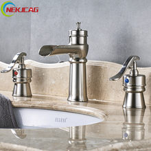 Nickle Bathroom Bathtub Faucet Deck Mounted Waterfall Mixer Faucet Dual Holder Dual Control Faucets(China)