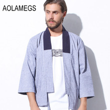 Aolamegs Kimono men jacket japanese clothes harajuku street wear casual japan style outwear kanye west kimonos shirt cardigan