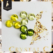Crystal Castle Jonquil Olivine Citrine Glass Crystal Strass Flatback Stone Glitter Hot Fix Rhinestone Hotfix For Women Shoes(China)
