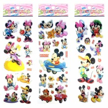 10pcs 2017 New Mickey Minnie Bubble Stickers Toy Kids Children DIY Cartoon Puffy Stickers Classic Toys Scrapbook Christmas Gift(China)