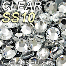 Promotion! SS10 1440pcs/Bag Clear Crystal DMC HotFix FlatBack Rhinestones trim strass,DIY iron heat glass Hot Fix crystal stones