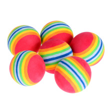 6pcs Indoor Practice EVA Sponge Foam Balls Swing Training Aids Golfing Light-weight Golf Balls Rainbow Stripe Foam Sponge Ball