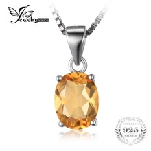 JewelryPalace Oval 1.7ct Natural Citrine Birthstone Solitaire Pendant Solid 925 Sterling Silver Not Include a Chain Fine Jewelry