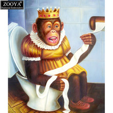 ZOOYA 5d diy diamond embroidery toilet monkey diamond painting Cross Stitch full square drill Rhinestone mosaic decoration TJ(China)