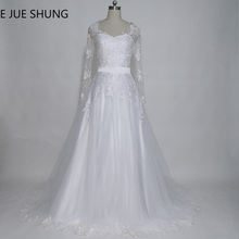 E JUE SHUNG Detachable Train Wedding Dresses 2017 V-neck Long Sleeves Two Pieces Wedding Gowns 2 in 1 Wedding Dress(China)
