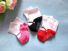 Fashion Baby Girl Warm Socks Dot Children Cute Slip Shoes Cotton Socks Kids 3 Colors(China)