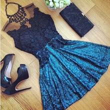 2017 Ladies Sexy Blue Lace Splice Hollow Dresses Summer Style Sleeveless  O-neck Collar Casual Vestidos Blue Fashion  Dress