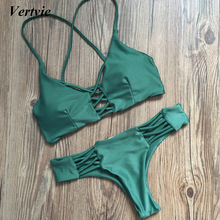 Vertvie Sexy Solid Bangdage Bikini Set Green Hollow Out Push Up Braided Rope Swimsuit Women 2017 Summer Beach Party Bathing Suit(China)