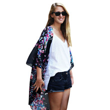 New Hot Top Women Long Printed Shirts Chiffon Kimono Printed Cardigan V-Neck Half Sleeve Women Sexy Kimono Free Shipping DM