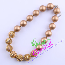 Free Shipping 2Pcs/Lot Fashion Kids Chunky Bubblegum Beads Necklace All Gold Necklace For Kids Necklace Jewelry CDNL-410609