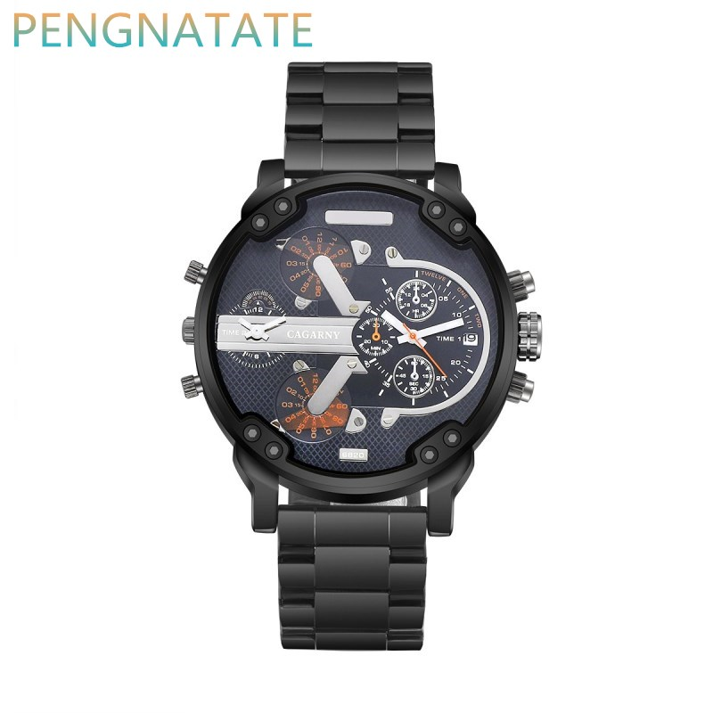 CAGARNY Brand Men Quartz Watches Stainless Steel Watchband Dual Time Zones Military Wrist Watches Casual Reloj Hombre PENGNATATE<br><br>Aliexpress