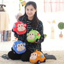 Hot 25-45cm Cute Lovers Monkey Car Plush Toys 4 Colors Plush Car Cloth Doll Christmas present For Childrens Boys doll kids toys(China)