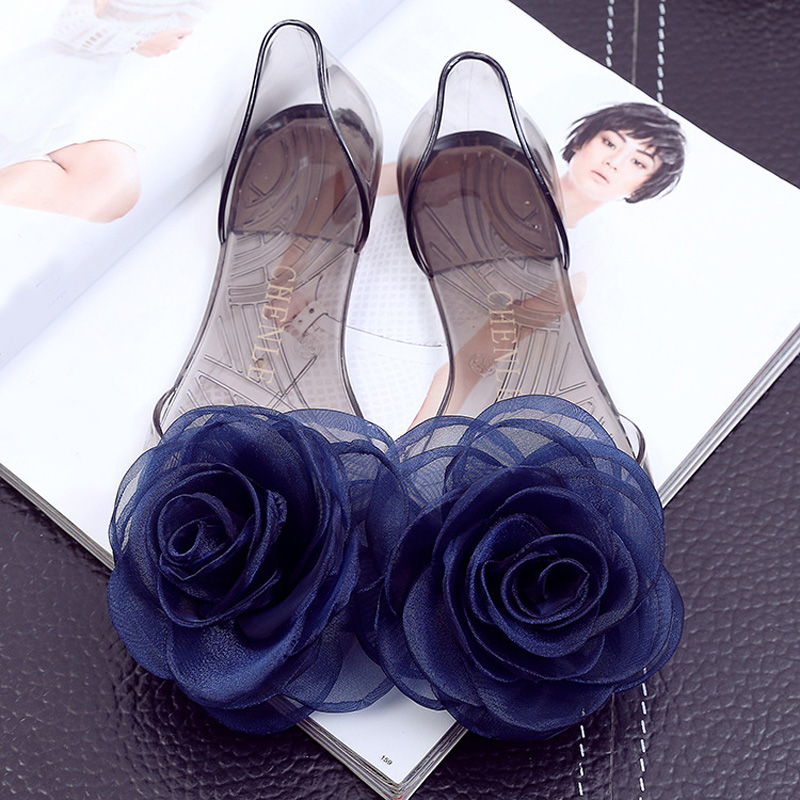 Sweet Flowers Lady Jelly Shoes Women Clear Plastic Sandals Flat Slippers Summer Casual Sandalias Mujer Chaussure Transparente<br><br>Aliexpress