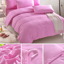 1.5m 4pcs/set Bed Linens Twin Size Duvet Cover Flat Sheet Pillow Case Solid Color Bedding Set HG99(China)