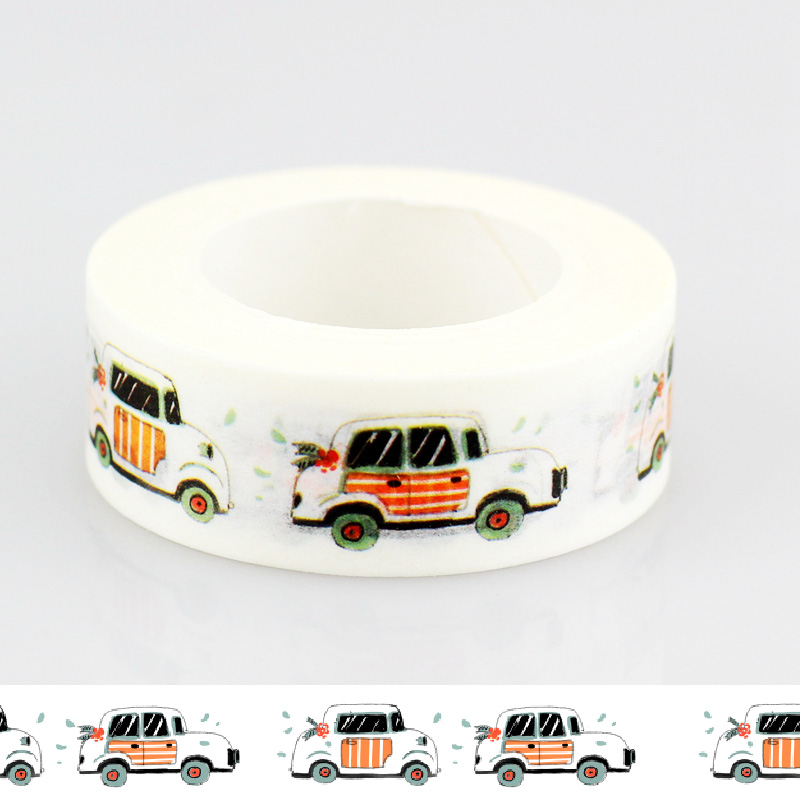 1 PCS 10m DIY Japanese Paper Washi Tape Car Cute Masking Tapes Adhesive Tapes Stickers Decorative Stationery Tape 1.5cm*10m