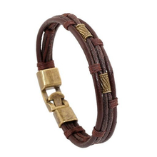 Fashion Multi-Layer Genuine Leather Man Bracelets Casual/Sporty Easy Alloy Hook Link Chain Men Jewelry Cheap Price(China)