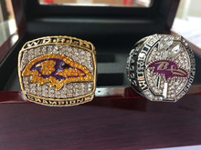 Sales Promotion 2000 AND 2012 BALTIMORE Ravens Super Bowl Championship ring together Football Size11 Gift(China)