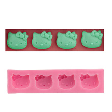 Hello Kitty Cake mold Bakeware mould Pink 4-hole sugar Fondant Cake tools cookie Chocolate Candy Mould Kitchen Baking Tools