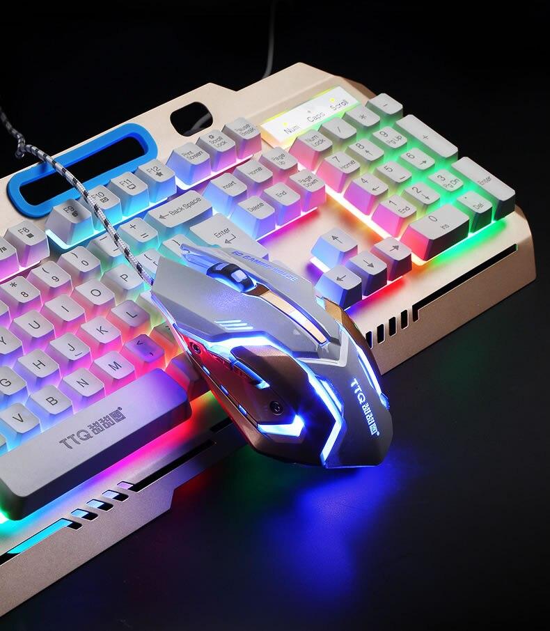 TTQ USB Gaming Keyboard Mouse Gamer Profesional Set Razer Led gaming mouse Mechanical Feel keyboard set wired 2000DPI  gamer set